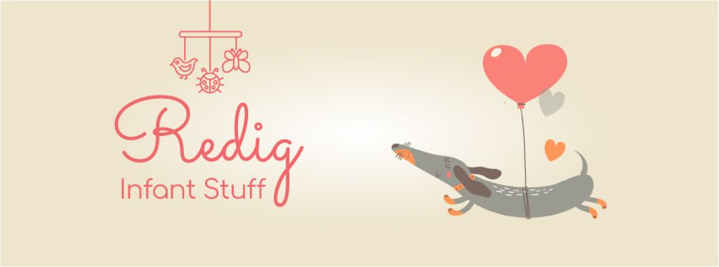 Dog flying on heart-shaped balloon — Modelo de projeto