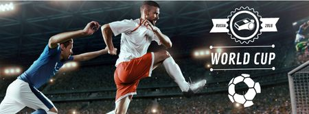 Modèle de visuel Football World Cup with players - Facebook cover