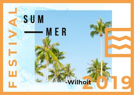 Designvorlage Summer Festival Invitation with Tropical Palms für Postcard