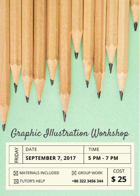 Plantilla de diseño de Drawing Workshop with Graphite Pencils on Blue Invitation