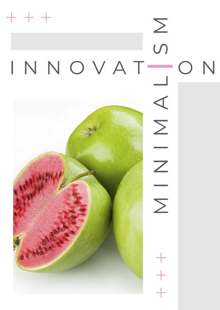 Innovation minimalism with exotic Fruit on white Poster Tasarım Şablonu