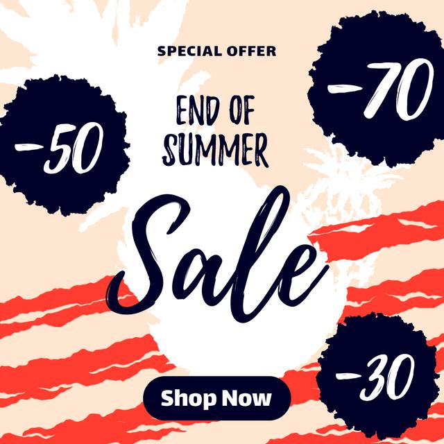 Plantilla de diseño de Sale Offer with Pineapple fruit silhouette Animated Post