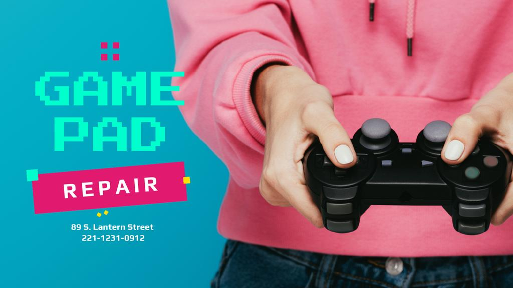 Repair Services Ad with Girl Holding Gamepad — Maak een ontwerp