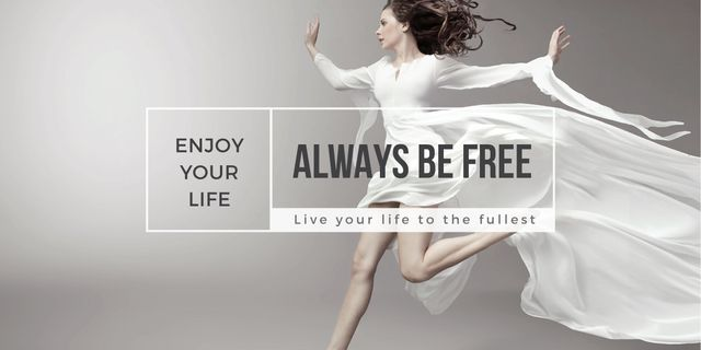 beautiful young woman in white dress and inspirational quote  Image Modelo de Design