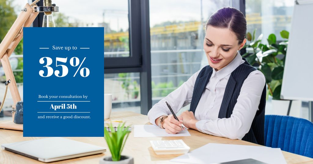 discount coupon for consultation with young businesswoman — Crea un design
