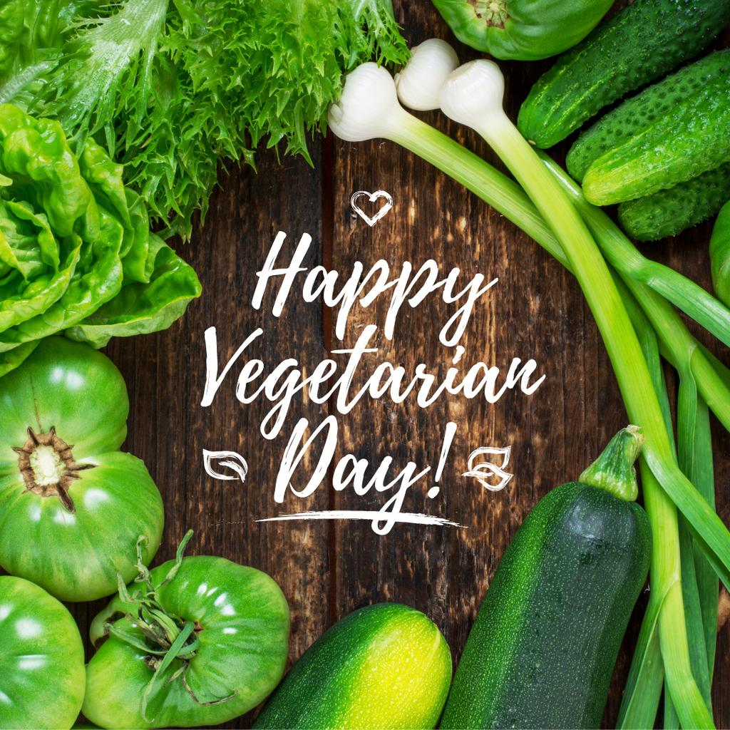 Vegetarian day greeting with Raw Vegetables — Crear un diseño