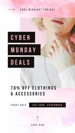 Cyber Monday Sale Woman wearing golden accessories Instagram Story Modelo de Design