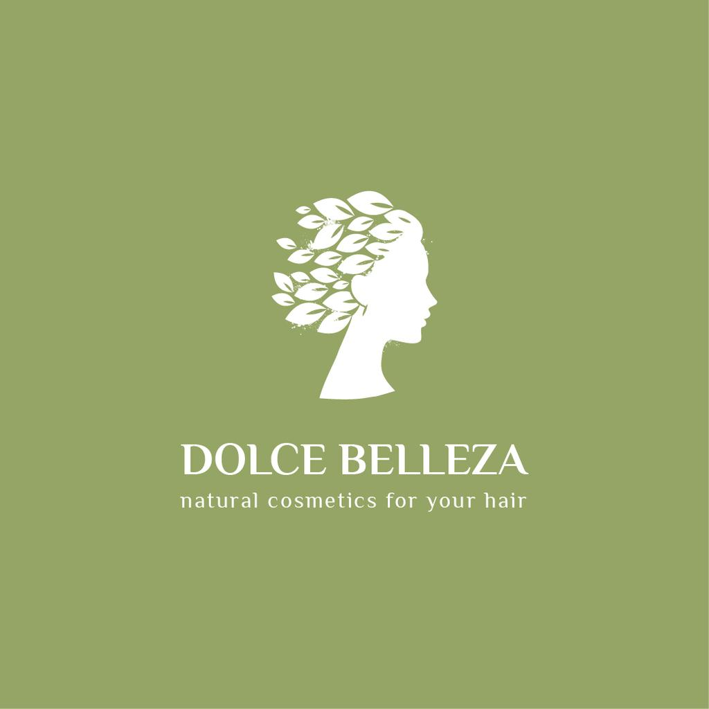 Szablon projektu Hair Cosmetics Ad with Female Head in Leaves Logo