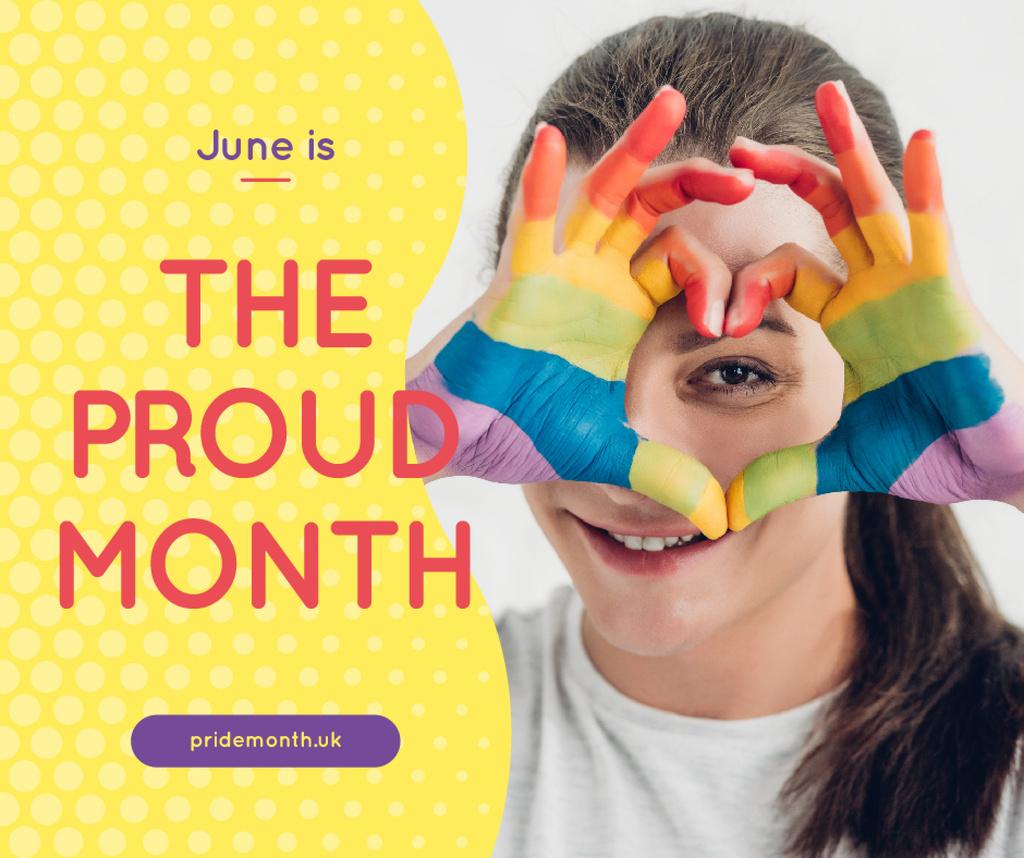 Girl showing rainbow heart — ein Design erstellen