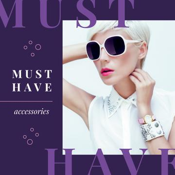 Accessories Ad Young Girl in Sunglasses in Purple