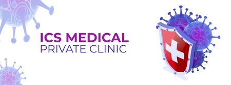 Clinic ad with Virus model Facebook cover Modelo de Design