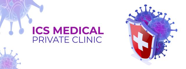 Clinic ad with Virus model Facebook cover – шаблон для дизайна