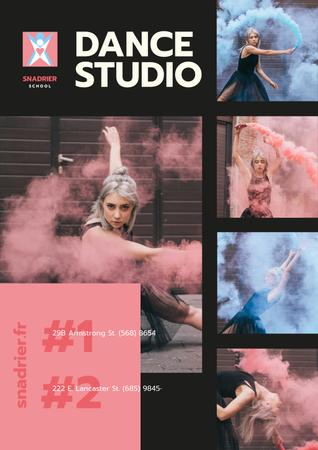 Dance Studio Ad with Dancer in Colorful Smoke Posterデザインテンプレート
