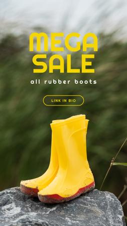 Ontwerpsjabloon van Instagram Story van Shoes Sale Rubber Boots in Yellow