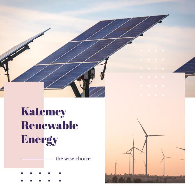 Szablon projektu Wind Turbines and Solar Panels Farm Instagram AD