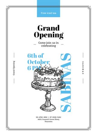 Template di design Delicious cake with berries for Cafe opening Invitation
