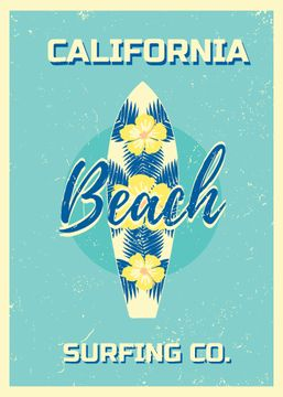 California beach surfing card