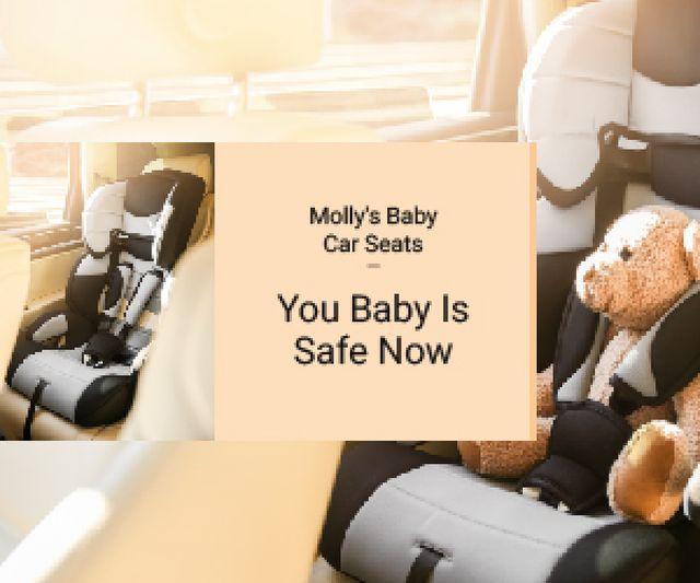 Plantilla de diseño de Teddy Bear in Baby Car Seat Medium Rectangle