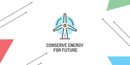 Template di design Conserve Energy with Wind Turbine Icon Twitter