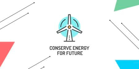 Plantilla de diseño de Conserve Energy with Wind Turbine Icon Twitter