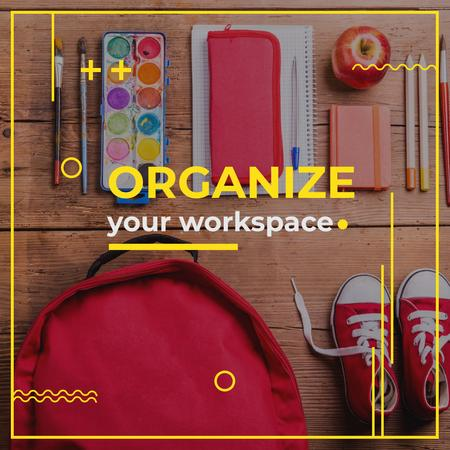 Pupil's workspace organization Instagram Design Template