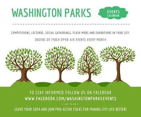 Events in Washington parks Medium Rectangle Design Template
