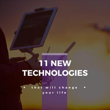New technologies Ad with Man holding Tablet