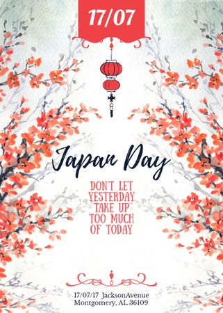 Japan day announcement with Sakura Invitation Tasarım Şablonu