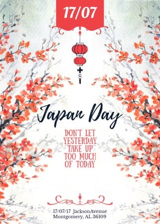 Ontwerpsjabloon van Invitation van Japan day announcement with Sakura