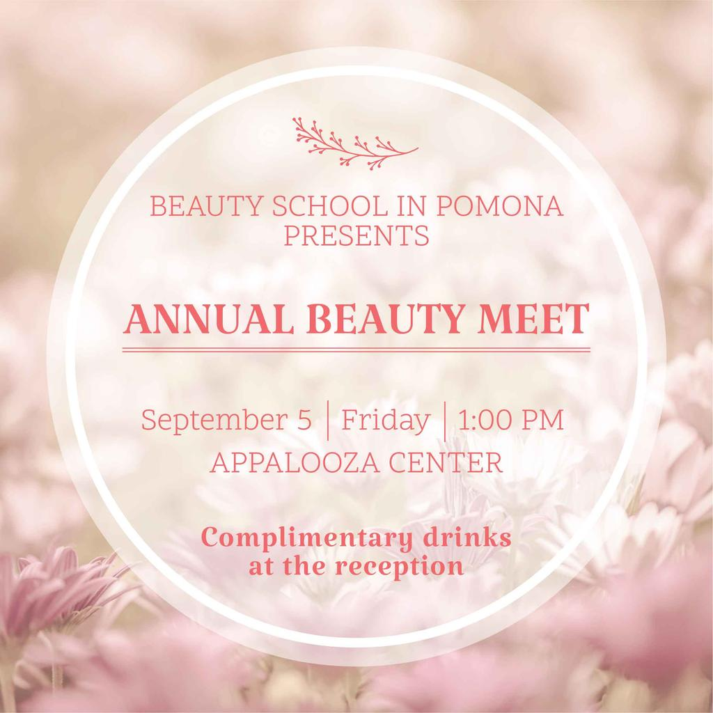 Beauty event announcement in pink frame — Создать дизайн