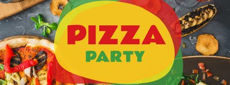 Pizza Party festive table Facebook cover Tasarım Şablonu