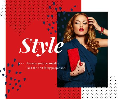 Style Quote Woman in Red and Blue Facebook Design Template