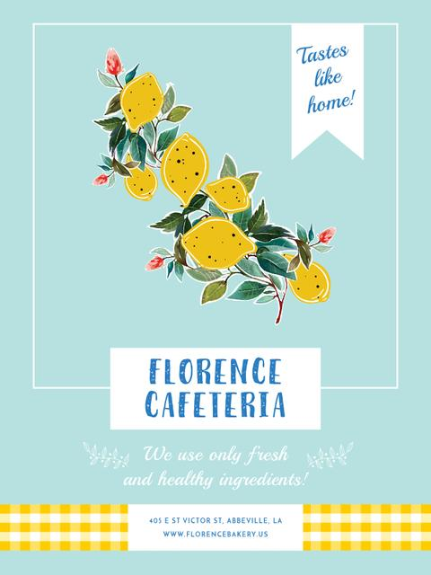 Cafeteria invitation with Lemons Poster US Design Template