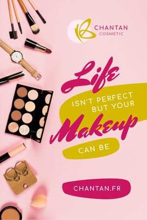 Plantilla de diseño de Beauty Quote with Makeup Products on Table Pinterest