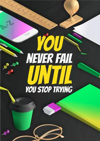 Motivational quote with Stationery on Workplace Poster Tasarım Şablonu