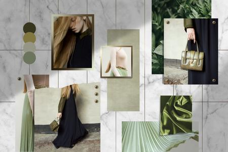 Woman in green and black Clothes Mood Board – шаблон для дизайну