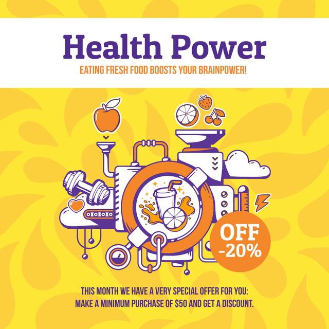 Plantilla de diseño de Health Factory Lifestyle in yellow Instagram AD