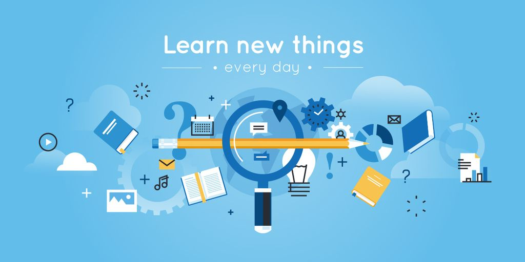 learn new things every day, creative thinking concept — Створити дизайн