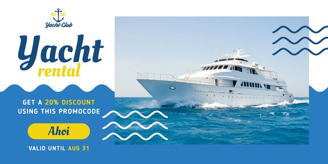 Ontwerpsjabloon van Image van Yacht Trip Promotion Ship in Sea