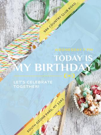 Birthday Party Invitation Bows and Ribbons Poster US – шаблон для дизайну