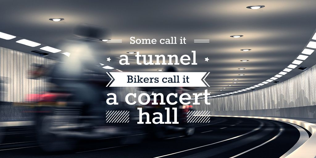 Bikers Riding in Road Tunnel | Twitter Post Template — Создать дизайн