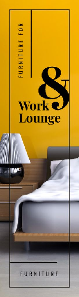 Furniture Ad Cozy Bedroom Interior in Yellow | Wide Skyscraper Template — Crea un design