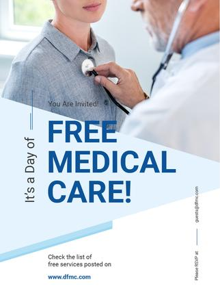 Template di design Doctor examining Child on free medical care day Invitation