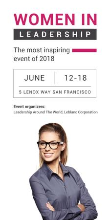 Plantilla de diseño de Business Event Announcement Smiling Businesswoman Graphic