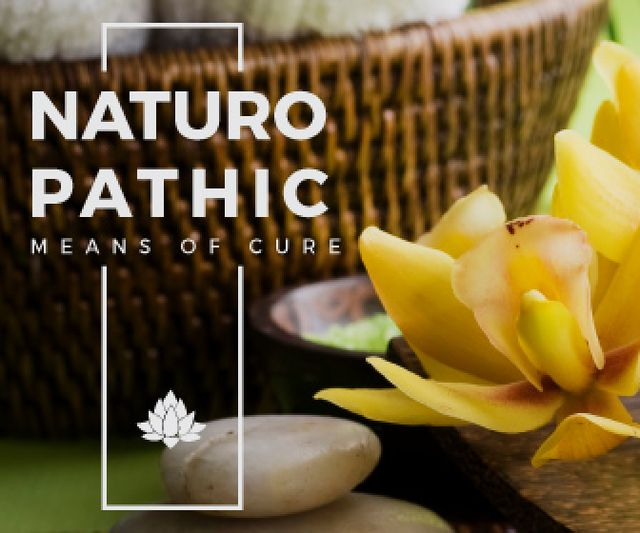 spa salon poster with flower Large Rectangle – шаблон для дизайну