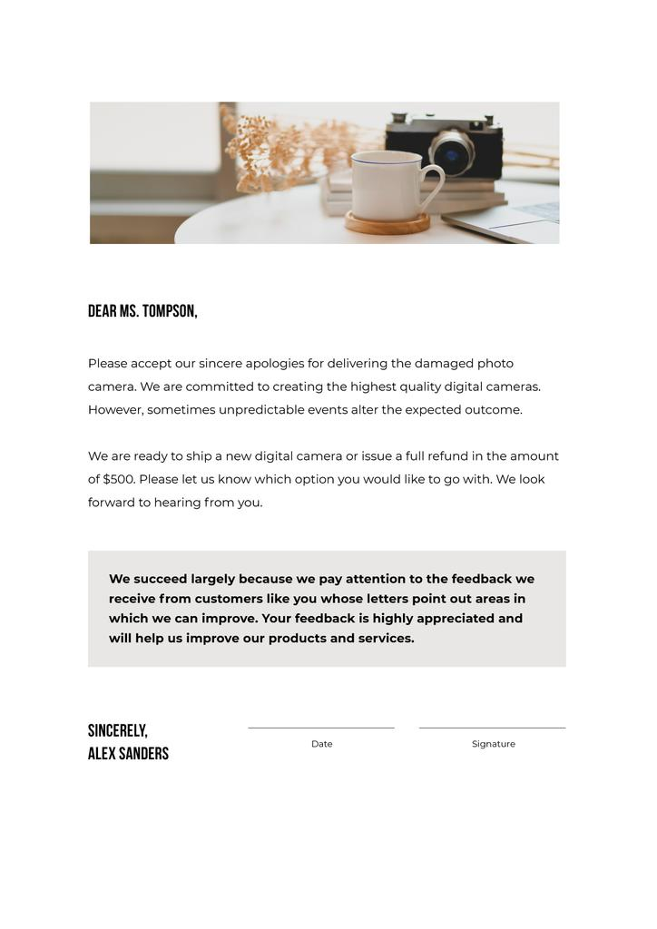 Camera Store customers support response Letterhead Design Template