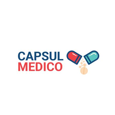 Medical Treatment with Pill Icon Logo Modelo de Design