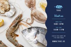 Restaurant Offer with Seafood and Fish