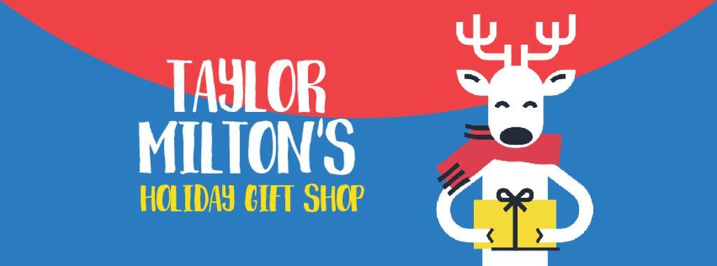 Christmas deer with gift in hands — Crear un diseño