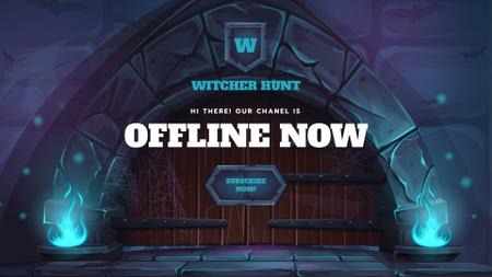 Game Streaming Ad with Gates and Blue Flame Twitch Offline Banner – шаблон для дизайна